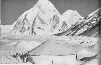 Saser III (centre) and Saser Kangri (right) from camp II.