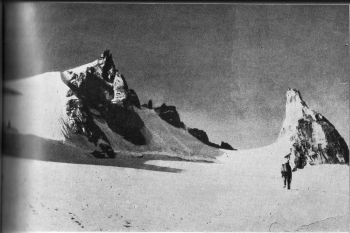 Consolation Pk. (left) and the Spire (right) climbed by Dharam Chand and Henry Day (first ascent)