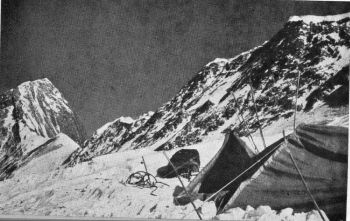 Camp IV with West ridge leading to Annapurna II.
