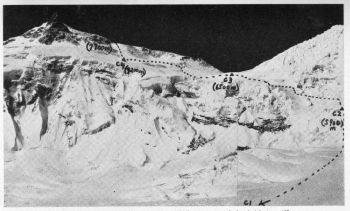 Manaslu showing the Korean route and heighest camp reached.