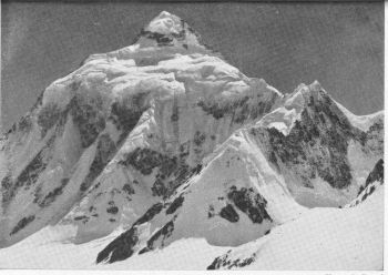 K2 seen from the Windy Gap. The NW. ridge is on the right sky-line. (Photo: J. Kurczab.)