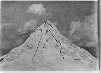 Darchen Peak from the north east. ------ northern route.  .......... Eastern route.      Route  of descent.