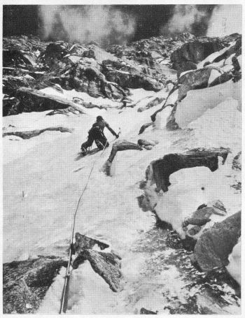 Georges Bettembourg leading up ice to North Col. 							(Photo: Joe Tasker)
