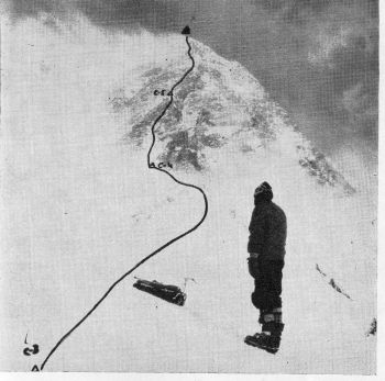 Route of Yugoslav Expedition on Everest. Article 1												(Photo: S. Belsk0)
