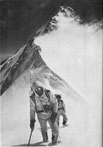 2.	Pete Boardman and A1 Rouse with summit Pyramid of Kongur in background. 							(Photo: C. Bonongton)
