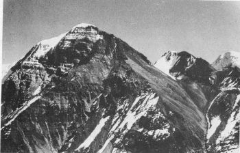 Tirche from Siruanch glacier. The route climbed the gully on right and up the SW slopes to top. The 1950 Scottish route was along N ridge on left. 									(Photo: C.D. Tambat)