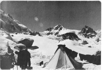 Rimo IV (23,520 ft). The route of first ascent followed the SW ridge (left hand sky-line). 					(Photo: G. K. Sharma)