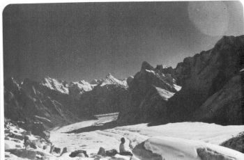 View across K12 glacier towards Siachen glacier from C4. The peaks in distance are between Asparagas and Terong group.   (Photo: Lt. Col Prem Chand)