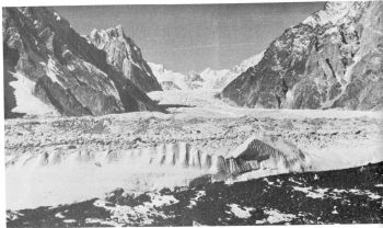 K12 glacier  from C2 on Siachen glacier. The distant rock peak (centre) is N of Pt. 5960 m.    (Photo: Lt. Col Prem Chand)
