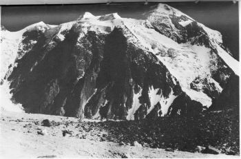 30.	The south face of Mamostong Kangri. The route of first ascent was up the NE ridge on extreme right.						(Photo : Col Balwant Sandhu)
