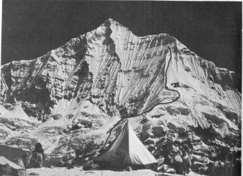 Route on SW face of Churen Himal. German expedition 1983 and British 1984. 									(Photo: Dr Hagg)