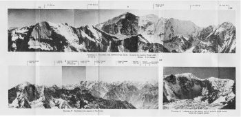 Panorama E. Panorama from summit of Uja Tirche, In centre the massive Tirsuli wall. (photos - C.D.Tambat). Panorama F. Panorama from summit of Uja Tirche.   Panorama G. Looking up at the eastern face of Lampak south massif, across the Lampak glacier.