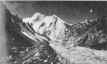 Meru group, Gangotri glacier. I  to  r : South, Central and North.  (M.S. Soin)