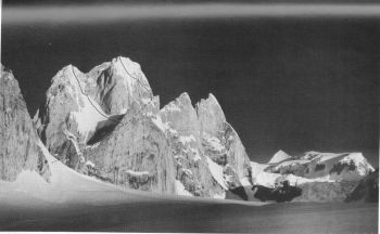 'Solu Tower' (5947 m) on Biafo-Solu watershed. South summit on left, and main summit on right. 										(S. Venables)