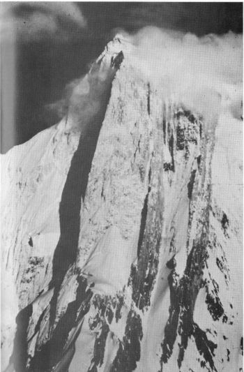 The Golden Pillar'; Spantik. The 1987 British route is along the central rib. 						(A. V. Saunders)
