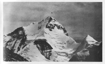 Hardeol ( 7151 m). Looking northeast from C1. Article 9								( Sanjib Paul )
