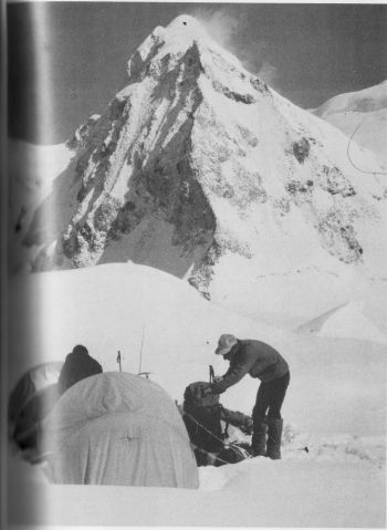 C  2 on the west col. Baruntse in background.  (Will Steffen)