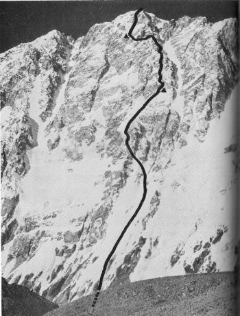 The 'Slovene Buttress route,  1989 on Shisha Pangma.   (A. Stremfelj)
