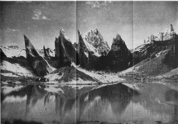 Panorama J. Galcial lake and ice-penitents on Rimo glacier. Article 18