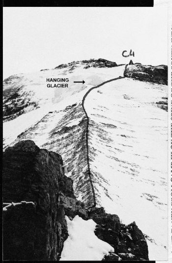 Route to C4 on the west ridge of Tirsuli West. (Maj. K. S. Dhami)