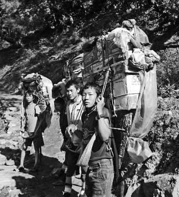 A group of young porters on the trail just outside of Jiri.
