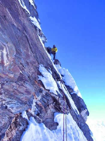 Mick Fowler climbing on day 6