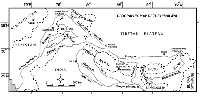 Geographic map of the Himalaya