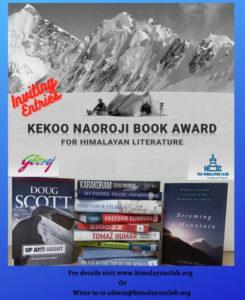 Kekoo Naoroji Book Award For Himalayan Literature
